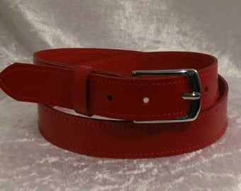 Red leather belt with 30mm nickel buckle Made to Order