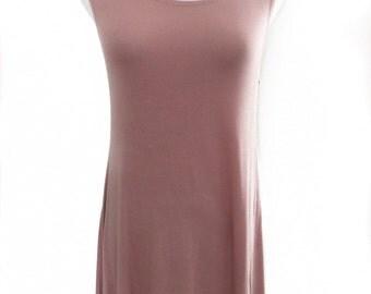 Dusty Pink Trapeza Dress, Casual Dress, Flowy Dress, Beach Dress, Boho Dress, Summer Dress, Gift For Her (AD14877A)