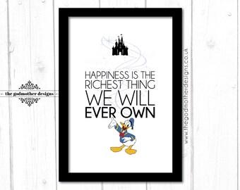 Donald Duck - Disney Character Quote - Typography - PRINT