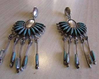 Sterling Silver and Turquoise Dangle Post Earrings