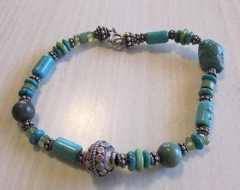 Sterling Silver and Turquoise Bead Bracelet