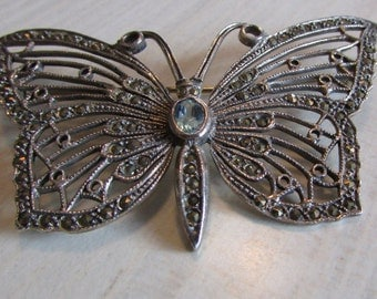 Sterling Silver, Blue Topaz and Marcasite Butterfly Pin