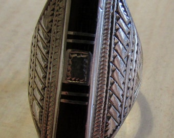 Sterling Silver and Jet Inlay Ring Size 10 1/4