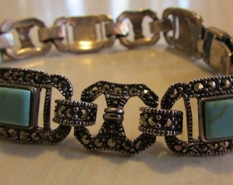 Sterling Silver Turquoise and Marcasite Link Bracelet