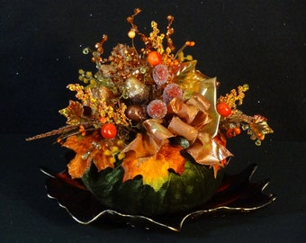 Fall Arrangement, Fall Centerpiece, Fall Decoration, Fall Foliage Arrangement,Table Centerpiece, Fall Arrangement, Velvet Pumpkin Decoration