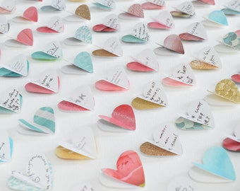 Personalised wedding guest book alternative. Coral mint gold wedding. Guest book wedding. 100 hearts. LARGE SIZE. Wedding gift. Heart frame.