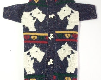 Dog SWEATER XL Upcycled Navy With Scottie Dogs