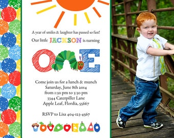 Caterpillar Birthday Invitation, Hungry Caterpillar Party Invitation, First Birthday Invitation, Caterpillar Invitation, Party Invitation