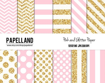 Pink and Gold Digital Paper Pack, Glitter Paper for scrapbooking, Making Cards, Tags, Invitations, party decor, backgrounds Intant donwload