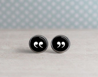 Quotation Mark Earrings - Black Background - Reader Earrings - Writer Earrings - Book Lovers (H4400)