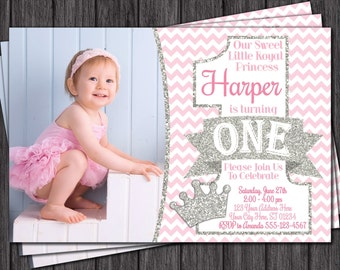 Princess First Birthday Invitation - Pink and Silver 1st Birthday Invitations