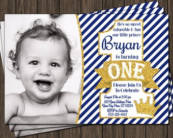 Prince Birthday Invitation - First Birthday Invitations - 1st Birthday Invitation