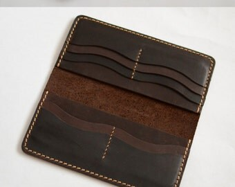 Handmade wallet Mens leather wallet Hand sewing Brown bifold wallet  Long wallet