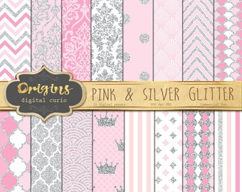 Pink and Silver Glitter Digital Paper  - Premium Digital Backgrounds, Classic Patterns Chevron, Gray Polka Dot, Quatrefoil, Commercial Use
