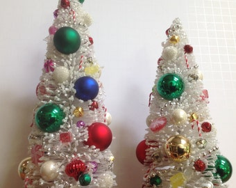 Decorated bottle brush Christmas tree, mini Christmas tree, Christmas decor