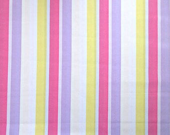 Bright Stripe Fabric - 100% Cotton - Yellow Pink Lavender - 1 5/8  Yard Only