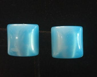 Vintage Clip On Square Pearlized Blue Earrings