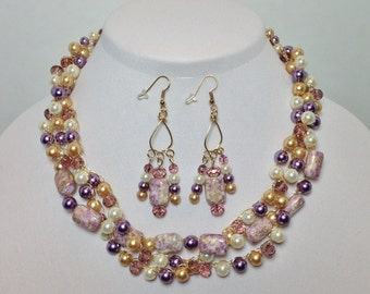 Purple Lilac, Gold, Ecru, Glass Pearl, Faceted Glass, Acrylic, Non-Tarnish Gold Tone Wire, Wire Crochet, Necklace, Earrings (B924)