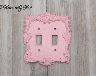 One Double Switchplate  // light switch covers // switchplate // custom switchplates // cast iron light covers // Rose Switch Plate