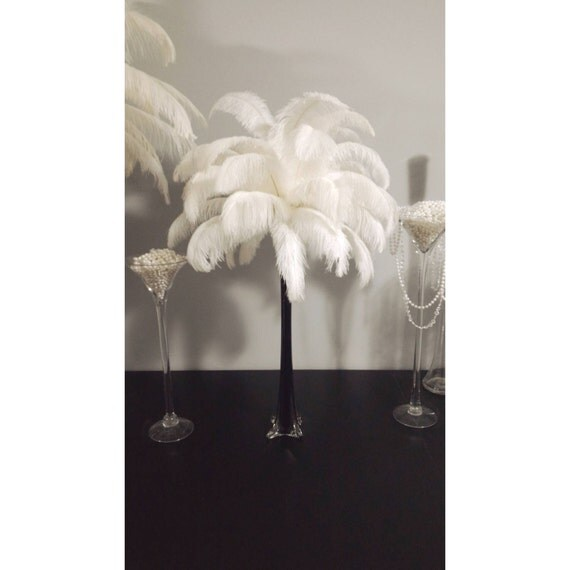 Black eiffel tower vase ostrich feather centerpiece