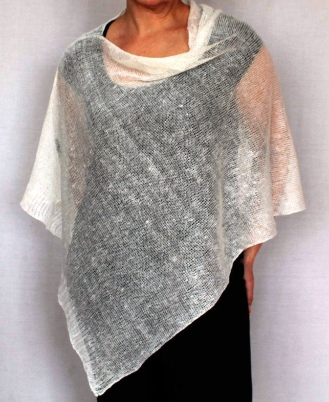 Summer Ponchos women pure linen poncho Linen white knitted