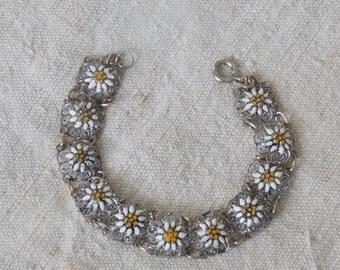 Bracelet old décor floral enamel