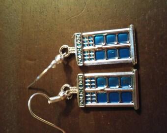 Dr. Who dangle Police Box earrings