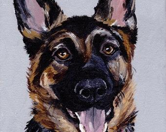 German Shepherd art print from original German Shepherd painting