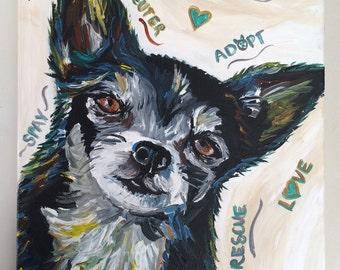 Chihuahua canvas art print: spay, neuter, adopt print from original painting