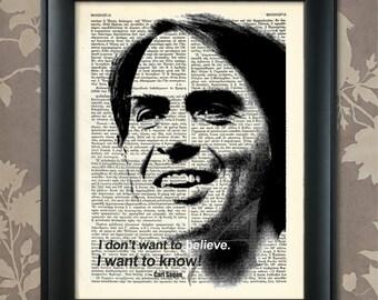 Carl Sagan Print, Carl Sagan Quote, Carl Sagan Poster, Carl Sagan art, Carl Sagan wall art, Sagan Decor, Sagan Print, Scientist, Agnostic