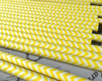 25 Yellow Paper Straws - Chevron