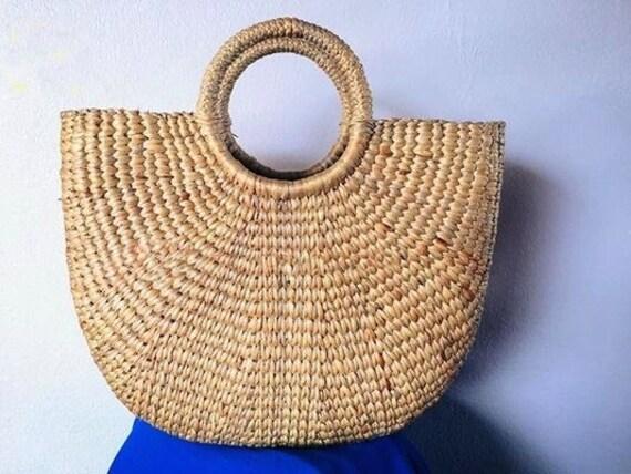Straw Bag / Woven Bag / Straw basket / Straw Beach Bag / Hand