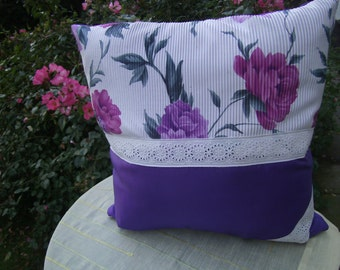 "purpel Decopillow - homedecor  - 16""x16"" - decorative Pillow -  Flowerpillow  - handmade Pillow -  colourful Pillow -  Couchpillow,"