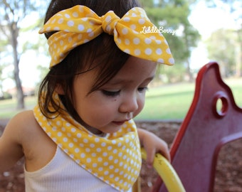 Baby headband and bandana bib gift set, yellow polka dots - perfect  gift