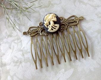 Comb She Skull Bronze Hair Comb