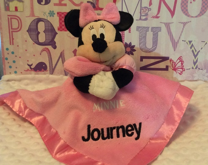 Popular girl Minnie Mouse inspired Snuggle Blankey Security Baby Blanket lovey - Monogrammed