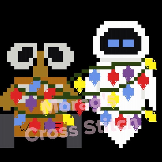 Disney Pixar Walle and Eve Christmas Lights Cross Stitch Cross