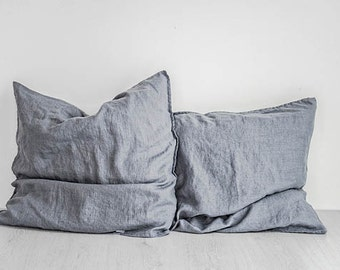 FREE SHIPPING. Set of 2 graphite linen pillowcase