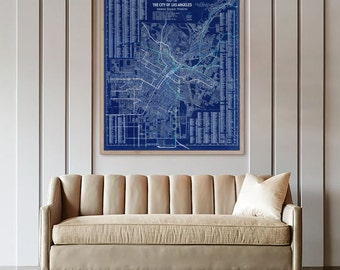 "Map of Los Angeles 1906 Vintage LA map, Poster in 4 sizes up to 36x45"" Large wall map of Los Angeles, CA - Limited Edition of 100"