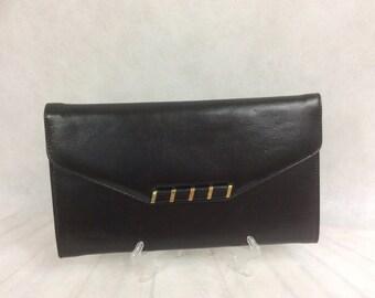 Vintage NEW Clutch Purse Bag By Japelle By Shilton International Black Faux Leather c 1970s