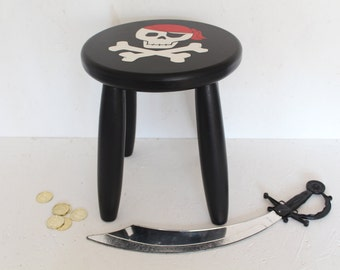 Pirate Stool, Children's Handmade Pirate Stool, Bedroom Furniture, Pirate, Skull and Crossbone