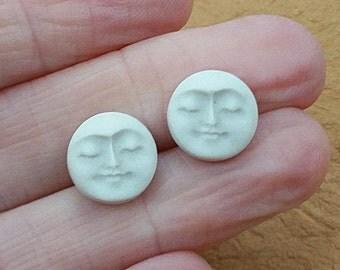 Porcelain Cabochon Ceramic Serene Moon Face Small Pair Cabochon Porcelain Full Moon Face Cabochon Pair By Loco Lobo Designs
