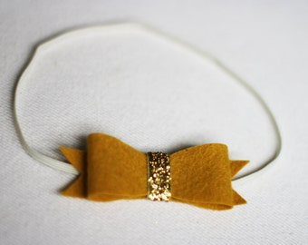 Mustard Gold Baby Bow,Yellow Felt Bow Headband,Gold Newborn Bow,Toddler Bow,Tween,Teen,Baby Shower Girl Gift,Boutique Headband