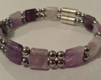Magnetic Jewelry. Magnetic Hematite Bracelet with Amethyst Gemstones.