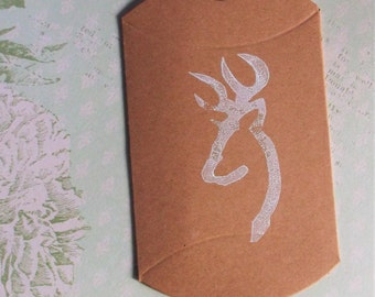 Hand stamped browning deer pillow boxes favor boxes 5 ct deer head stamped pillow boxes