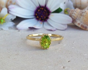 20% off-SALE! Peridot Ring - August Birthstone - Birthstone Jewelry - Slim Delicate Ring - Gold Ring - Gemstone Ring - Faceted Ring