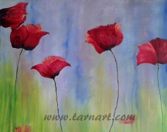 Poppy wall art, red poppy painting, spring time, garden art, abstract oil painting, unique artwork, floral wall art, canvas painting,