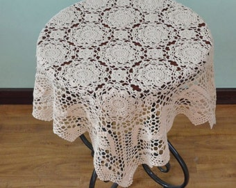 New Crochet Pattern Square crocheted tablecloths, handmade crochet table topper nightstand cover for home decor ~ 80x80 Cm Square table line
