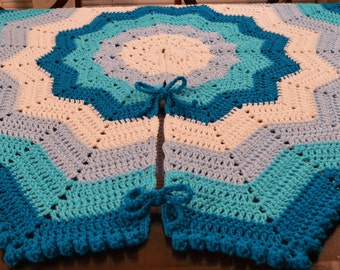 """Large Victorian Crochet Christmas Tree Skirt with Bobble Edge (Blues) - 52"""" - Ready to Ship"""