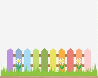 Nursery Decal Playroom Fence Grass Flowers Wall Sticker Set Baby Room Play room Full Colour